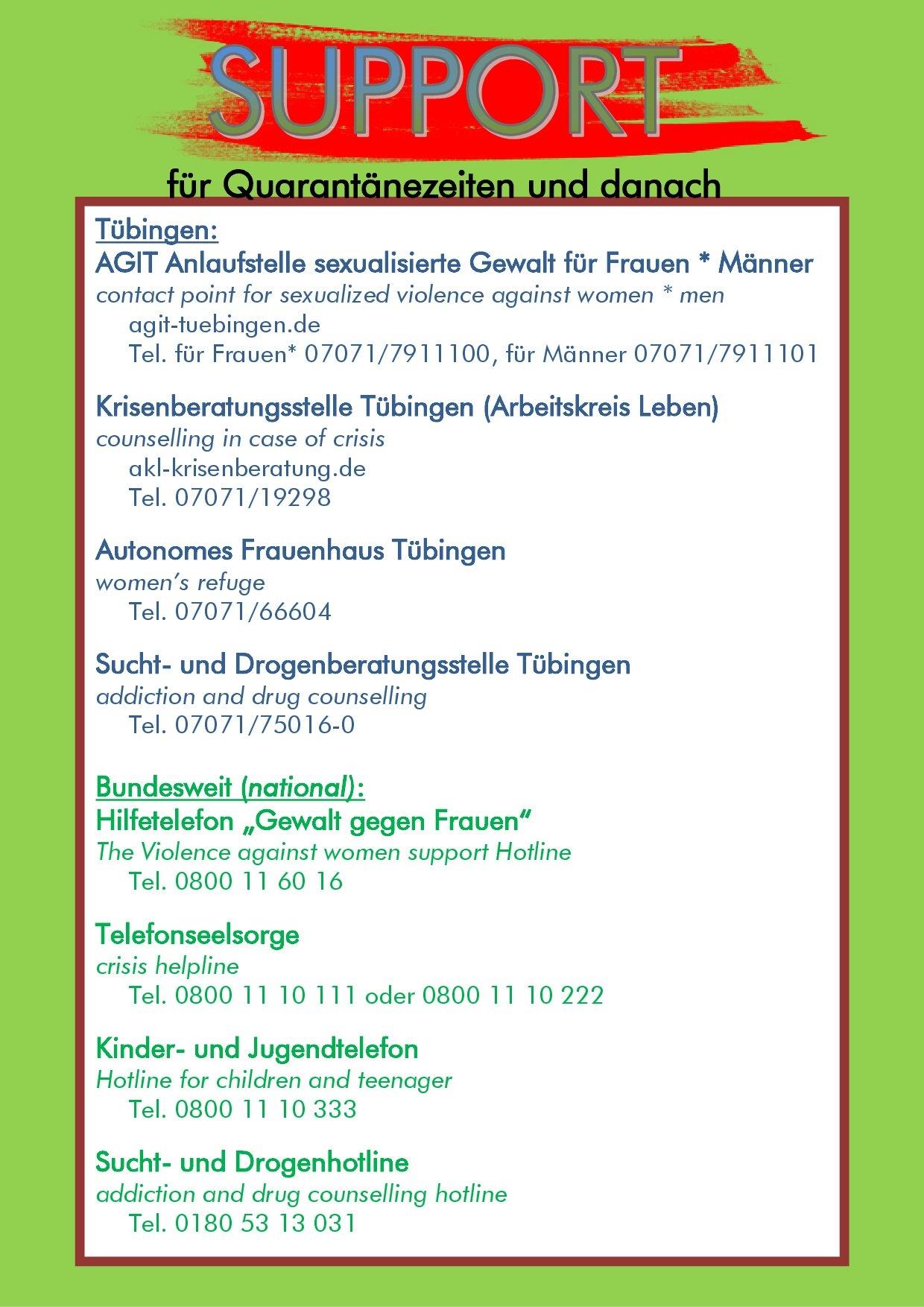 Notfallnummern Tübingen